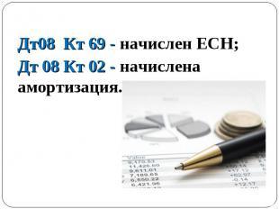 Дт08 Кт 69 - начислен ЕСН; Дт08 Кт 69 - начислен ЕСН; Дт 08 Кт 02 - начислена ам