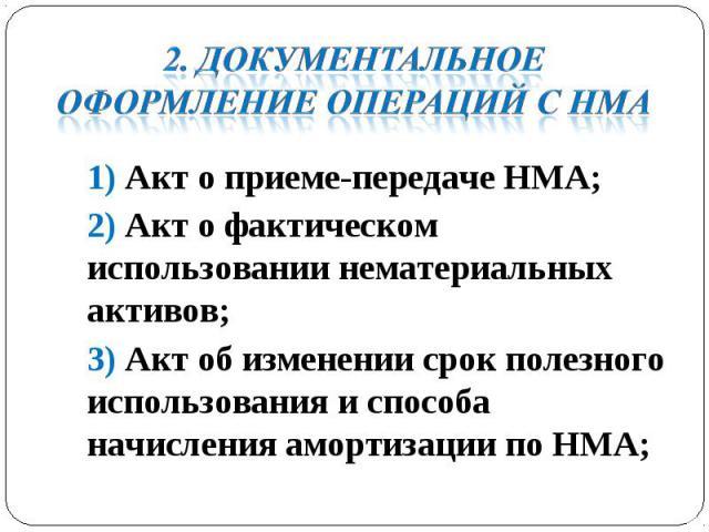 1) Акт о приеме-передаче НМА; 1) Акт о приеме-передаче НМА; 2) Акт о фактическом использовании нематериальных активов; 3) Акт об изменении срок полезного использования и способа начисления амортизации по НМА;