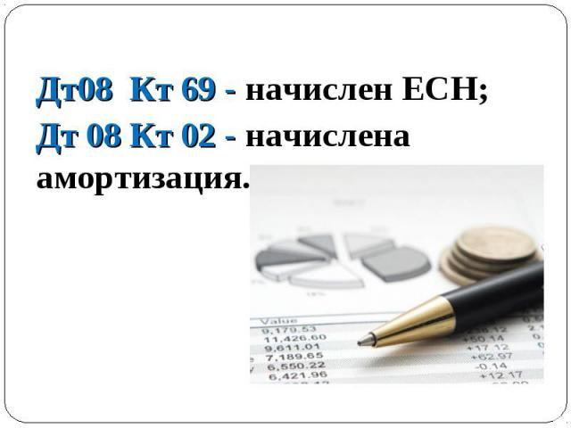 Дт08 Кт 69 - начислен ЕСН; Дт08 Кт 69 - начислен ЕСН; Дт 08 Кт 02 - начислена амортизация.