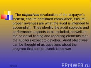 The objectives (evaluation of the taxpayer's system, ensure continued compliance
