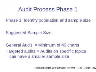Audit Process Phase 1 Phase 1: Identify population and sample size Suggested Sam