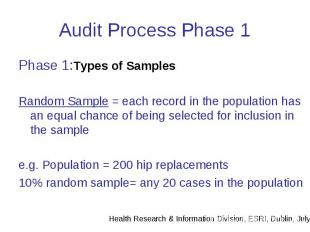 Audit Process Phase 1 Phase 1:Types of Samples Random Sample = each record in th