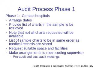 Audit Process Phase 1 Phase 1: Contact hospitals Arrange dates Provide list of c