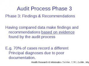 Audit Process Phase 3 Phase 3: Findings & Recommendations Having compared da