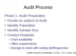 Audit Process Phase 1- Audit Preparation Decide on subject of Audit Identify Pop