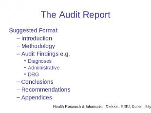 The Audit Report Suggested Format Introduction Methodology Audit Findings e.g. D
