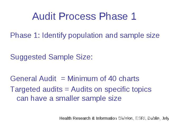 Audit Process Phase 1 Phase 1: Identify population and sample size Suggested Sample Size: General Audit = Minimum of 40 charts Targeted audits = Audits on specific topics can have a smaller sample size