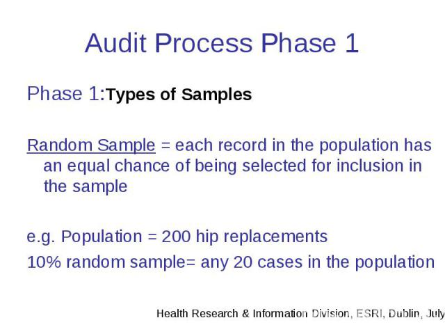Audit Process Phase 1 Phase 1:Types of Samples Random Sample = each record in the population has an equal chance of being selected for inclusion in the sample e.g. Population = 200 hip replacements 10% random sample= any 20 cases in the population