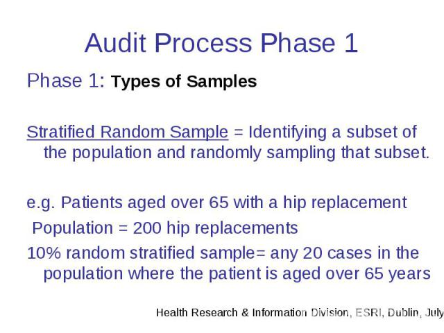 Audit Process Phase 1 Phase 1: Types of Samples Stratified Random Sample = Identifying a subset of the population and randomly sampling that subset. e.g. Patients aged over 65 with a hip replacement Population = 200 hip replacements 10% random strat…