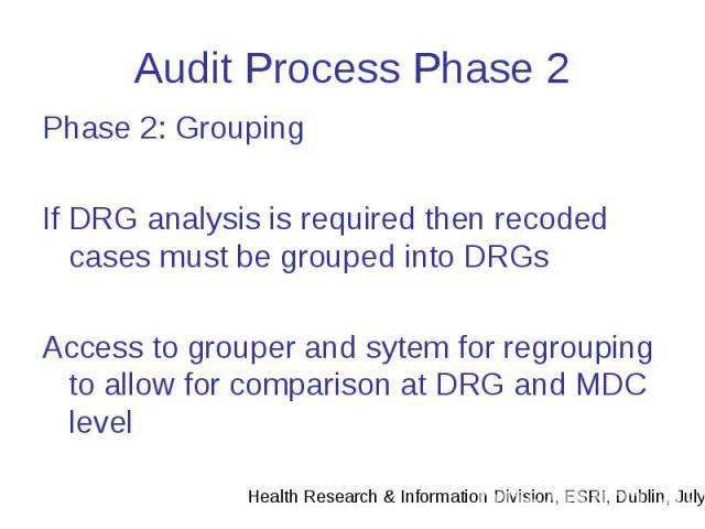 Audit Process Phase 2 Phase 2: Grouping If DRG analysis is required then recoded cases must be grouped into DRGs Access to grouper and sytem for regrouping to allow for comparison at DRG and MDC level