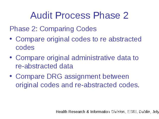 Audit Process Phase 2 Phase 2: Comparing Codes Compare original codes to re abstracted codes Compare original administrative data to re-abstracted data Compare DRG assignment between original codes and re-abstracted codes.