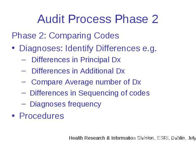 Audit Process Phase 2 Phase 2: Comparing Codes Diagnoses: Identify Differences e.g. Differences in Principal Dx Differences in Additional Dx Compare Average number of Dx Differences in Sequencing of codes Diagnoses frequency Procedures