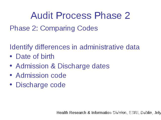 Audit Process Phase 2 Phase 2: Comparing Codes Identify differences in administrative data Date of birth Admission & Discharge dates Admission code Discharge code