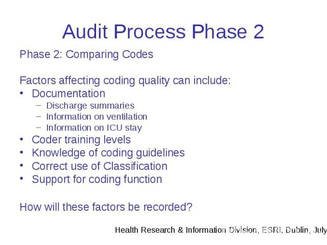 Audit Process Phase 2 Phase 2: Comparing Codes Factors affecting coding quality can include: Documentation Discharge summaries Information on ventilation Information on ICU stay Coder training levels Knowledge of coding guidelines Correct use of Cla…