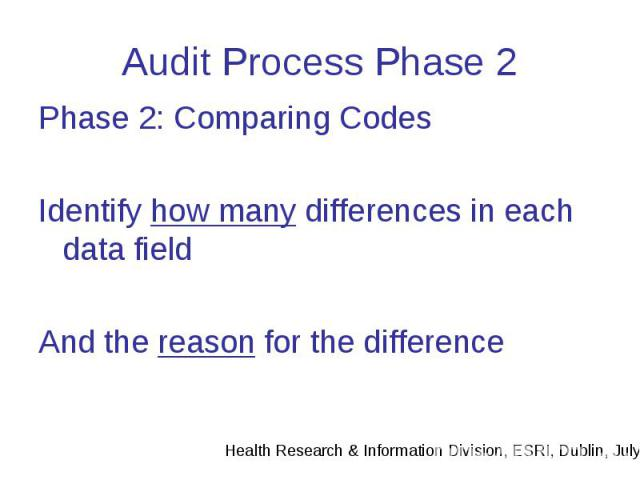 Audit Process Phase 2 Phase 2: Comparing Codes Identify how many differences in each data field And the reason for the difference