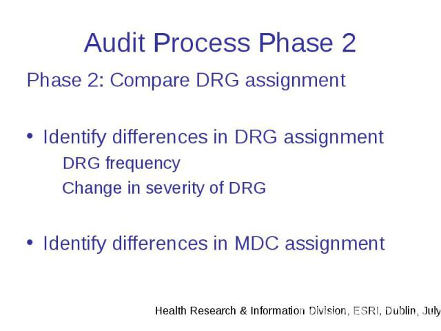 Audit Process Phase 2 Phase 2: Compare DRG assignment Identify differences in DRG assignment DRG frequency Change in severity of DRG Identify differences in MDC assignment