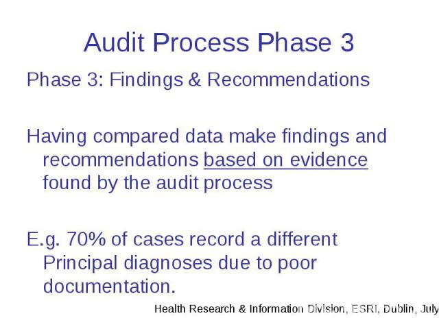 Audit Process Phase 3 Phase 3: Findings & Recommendations Having compared data make findings and recommendations based on evidence found by the audit process E.g. 70% of cases record a different Principal diagnoses due to poor documentation.
