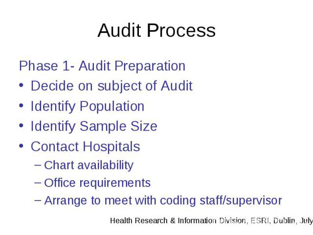 Audit Process Phase 1- Audit Preparation Decide on subject of Audit Identify Population Identify Sample Size Contact Hospitals Chart availability Office requirements Arrange to meet with coding staff/supervisor