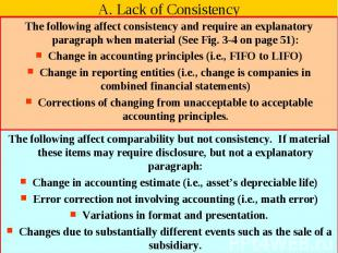 A. Lack of Consistency The following affect consistency and require an explanato