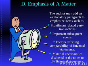 D. Emphasis of A Matter The auditor may add an explanatory paragraph to emphasiz