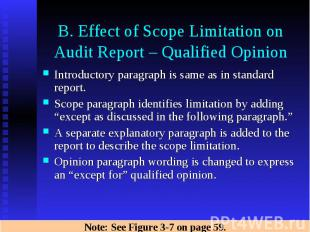 B. Effect of Scope Limitation on Audit Report – Qualified Opinion Introductory p