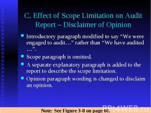 C. Effect of Scope Limitation on Audit Report – Disclaimer of Opinion Introducto