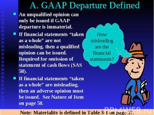 A. GAAP Departure Defined An unqualified opinion can only be issued if GAAP depa