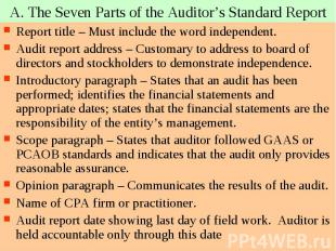 A. The Seven Parts of the Auditor's Standard Report Report title – Must include