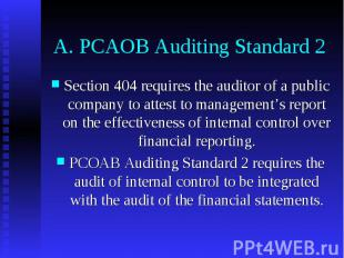 A. PCAOB Auditing Standard 2 Section 404 requires the auditor of a public compan