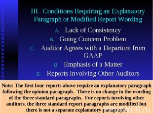 III. Conditions Requiring an Explanatory Paragraph or Modified Report Wording La