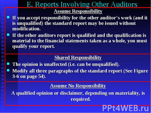 E. Reports Involving Other Auditors Assume Responsibility If you accept responsibility for the other auditor's work (and it is unqualified) the standard report may be issued without modification. If the other auditors report is qualified and the qua…