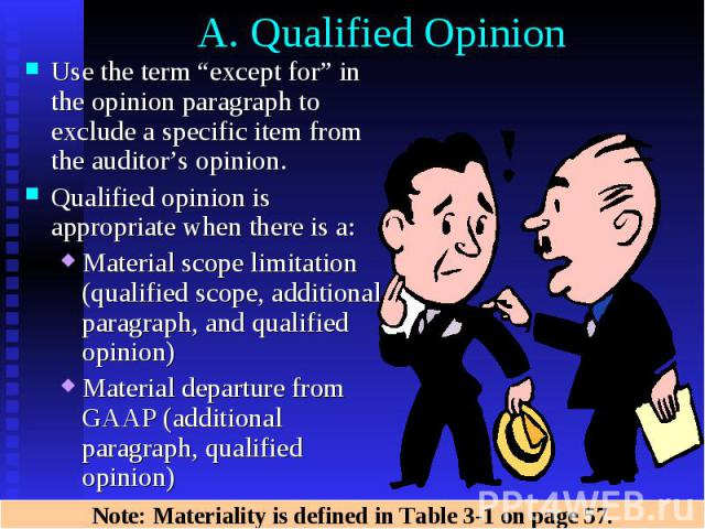 "A. Qualified Opinion Use the term ""except for"" in the opinion paragraph to exclude a specific item from the auditor's opinion. Qualified opinion is appropriate when there is a: Material scope limitation (qualified scope, additional paragraph, and qu…"