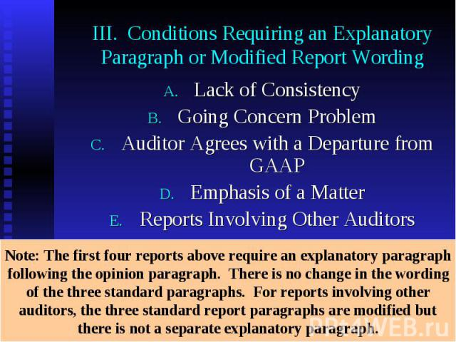 III. Conditions Requiring an Explanatory Paragraph or Modified Report Wording Lack of Consistency Going Concern Problem Auditor Agrees with a Departure from GAAP Emphasis of a Matter Reports Involving Other Auditors