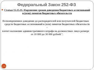 Статья 15.15.11. Нарушение сроков доведения бюджетных ассигнований и (или) лимит