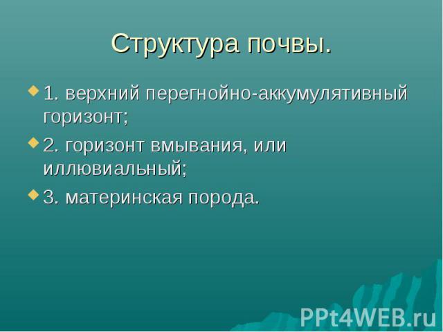 1. верхний перегнойно-аккумулятивный горизонт; 1. верхний перегнойно-аккумулятивный горизонт; 2. горизонт вмывания, или иллювиальный; 3. материнская порода.
