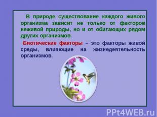 В природе существование каждого живого организма зависит не только от факторов н