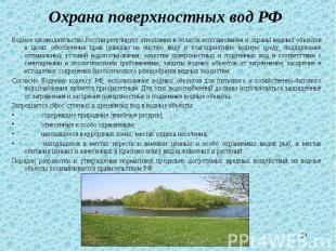 Водное законодательство России регулирует отношения в области использования и ох