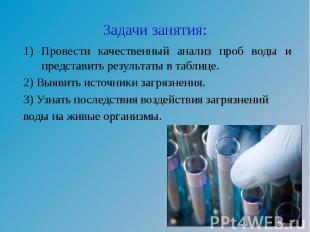 Задачи занятия: 1) Провести качественный анализ проб воды и представить результа