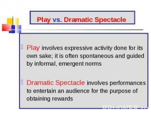Play involves expressive activity done for its own sake; it is often spontaneous