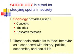 Sociology provides useful Sociology provides useful Concepts Theories Research m