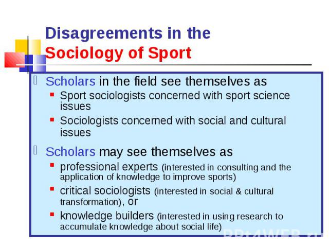 Scholars in the field see themselves as Scholars in the field see themselves as Sport sociologists concerned with sport science issues Sociologists concerned with social and cultural issues Scholars may see themselves as professional experts (intere…