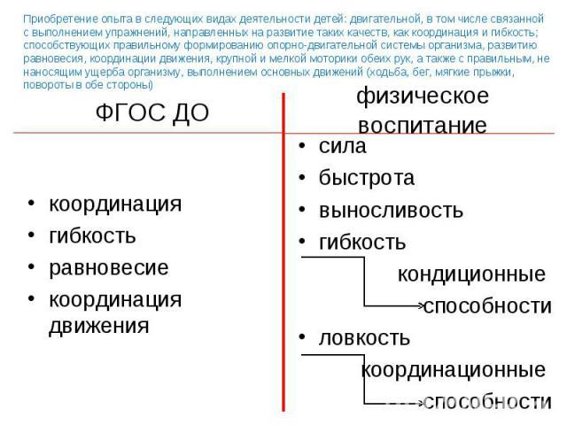 координация координация гибкость равновесие координация движения