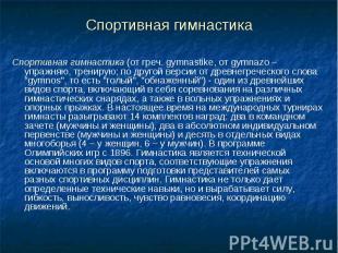 Спортивная гимнастика Спортивная гимнастика (от греч. gymnastike, от gymnazo – у