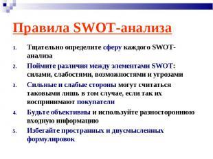 Тщательно определите сферу каждого SWOT-анализа Тщательно определите сферу каждо