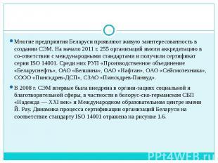 Многие предприятия Беларуси проявляют живую заинтересованность в создании СЭМ. Н