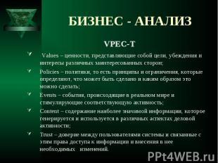VPEC-T VPEC-T Values – ценности, представляющие собой цели, убеждения и интересы