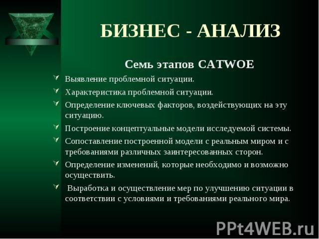 Семь этапов CATWOE Семь этапов CATWOE Выявление проблемной ситуации. Характеристика проблемной ситуации. Определение ключевых факторов, воздействующих на эту ситуацию. Построение концептуальные модели исследуемой системы. Сопоставление построенной м…