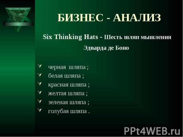 Six Thinking Hats - Шесть шляп мышления Six Thinking Hats - Шесть шляп мышления Эдварда де Боно черная шляпа ; белая шляпа ; красная шляпа ; желтая шляпа ; зеленая шляпа ; голубая шляпа .