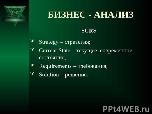 SCRS SCRS Strategy – стратегия; Current State – текущее, современное состояние; Requirements – требования; Solution – решение.