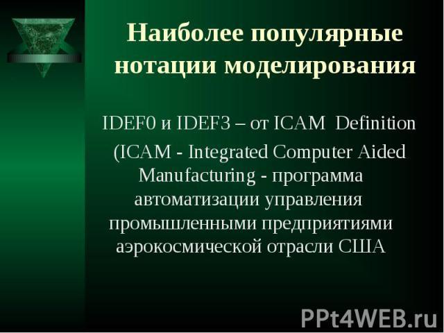 IDEF0 и IDEF3 – от ICAM Definition IDEF0 и IDEF3 – от ICAM Definition (ICAM - Integrated Computer Aided Manufacturing - программа автоматизации управления промышленными предприятиями аэрокосмической отрасли США